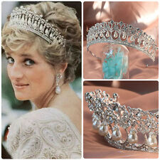 Vintage Wedding Bridal Pearl Crown Diana Tiara Princess Hair Accessories Jewelry