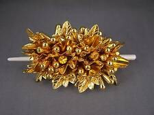 """Gold beaded leaf slide hair pin stick barrette hairpin accessory 3.5"""" long"""