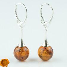 Baltic Amber Earrings Cognac Amber 925 Silver Drop Dangle Amber Jewelry Beads