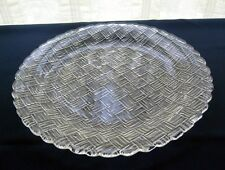 """Indiana Glass Clear Weavetex 11"""" Serving Platter Tray Plate"""