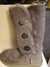 UGG Bailey Button Triplet Button Women's Boots Gray Classic Tall Size 9