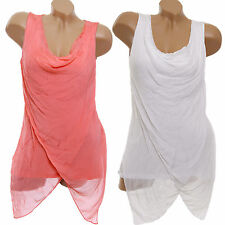 Lockre Sitzende Ärmellose Hüftlang Damenblusen,-Tops & -Shirts mit Wasserfall