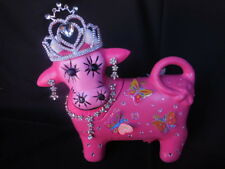 Original Art Handcrafted Cookie Jar  One- of a -Kind Princess Cow Artist Signed