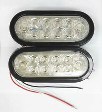"""(2) Red/Clear 6"""" Oval 10 LED Trailer Stop/Turn/Tail Light w/Grommet&Plugs -24026"""