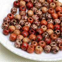 100 PCS Mixed Large Hole Ethnic Pattern Stringing Wood Beads Vintage DIY Jewelry