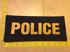 """Police Patch - 4"""" X 10"""" On Hook Backing, Yellow On Black (item 1045)"""