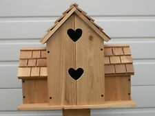 CEDAR BIRDHOUSE With 6 SEPERATE HEARTS COMPARTMENTS...free shipping... handmade