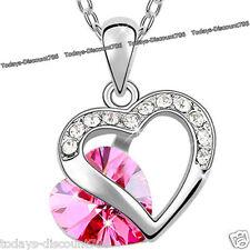 Ofertas De Viernes Negro Corazón Collar De Mujer Rosa De Cristal Amor esposa Navidad Regalo Para Ella