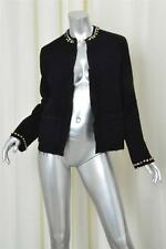 LANVIN Womens Black Textured Wool Long-Sleeve Jewel Collar Open Jacket Coat 38/6