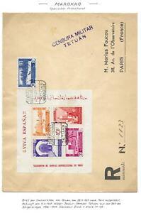 Spanish Morocco covers 1937 MI Bloc 1+2 on 2 censored(Tetuan) R-covers VF