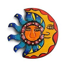 Sun and Moon Hanging Set. Mexican Home Decor, Outdoor Wall Decor and Wood Dec...
