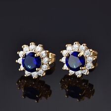 Women Promise 24K Gold Filled Blue Sapphire Gemstone Crystal Stud Earring 1 Pair