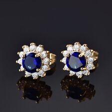 Women Promise 24K Gold Filled Blue Sapphire Gemstone Crystal Stud Earring 1 Pair