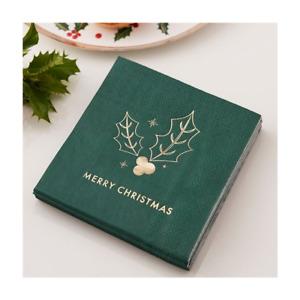 MERRY CHRISTMAS CANAPE NAPKINS x 16 - Napkins for the Christmas Table