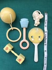 5 Vintage Hard Plastic Baby Rattles