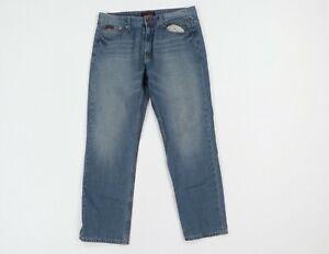 Vintage 90s FUBU Streetwear Mens 36x32 Distressed Straight Leg Denim Jeans Blue