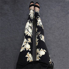Ladies Womens Pants Trousers legging Harem Full Length Stretch Floral look uk