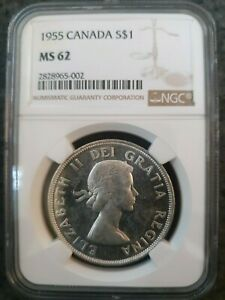1955 Canada Silver (.6oz) dollar MS62 NGC Certified Elizabeth II Investment!!