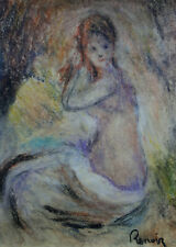 Impressionist pastel painting Bather signed, Pierre Auguste Renoir, w COA &DOC