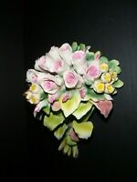 Vintage Cesar Capodimonte Savastano Porcelain Roses Bouquet Made in Italy
