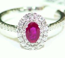 .93CT 14K Gold Natural Round Cut White Diamond Ruby Vintage Engagement Ring Deco
