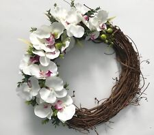 Orchid Spring Summer Wreath Front Door Floral Tropical Silk Flowers Handmade 18""