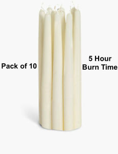 Pillar Dinner Christmas Candles Pack of 10 Wax Xmas Candle 5 Hour Long Lasting
