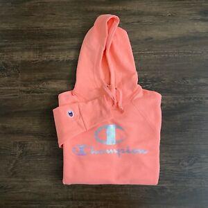 NWOT Champion Sweatshirt Hoodie Mens Small Pink Big C Logo Spellout Script