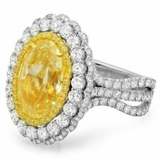 12ct Fancy Yellow Oval Halo Solitaire 925 Sterling Silver Engagement Ring White
