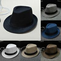 New Unisex Fedora Trilby Wide Brim Straw Cap Summer Beach Sun Panama Hat Sunhat