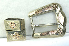 VINTAGE MEXICAN STERLING SILVER 10K ROSE GOLD RANGER 3 PIECE BELT BUCKLE SET