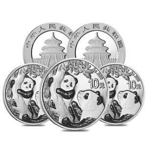 Lot of 5 - 2021 30 gram Chinese Silver Panda 10 Yuan .999 Fine BU