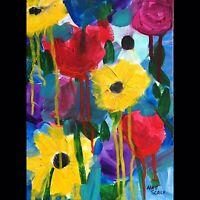 Matt Scalf Abstract Flowers Floral ORIGINAL PAINTING 9x12 Modern Contemporary