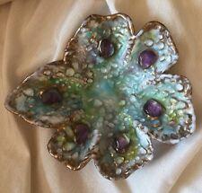 Louise Arnaud Limoges France Enamel Glass Gold Gilt Flower Small Dish Purple