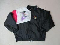 VINTAGE Le Coq Sportiff Jacket Adult Medium Black Pink Windbreaker Coat Mens *