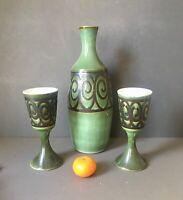 Vintage Rye Iden Pottery Carafe & 2 Goblets, Green Vase Jug and Stem Goblet