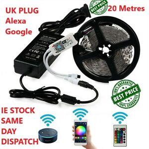 20 Metres WIFI Led Strip Lights 5050 FULL KIT Alexa Google A++ UK Plug App contr