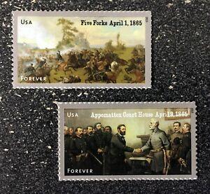 2015USA #4980-4981 Forever Civil War 1865 Five Forks/Appomattox Set of 2 Singles