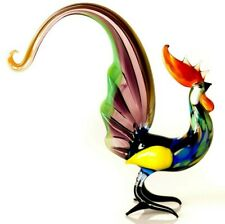 "Rooster Multicolor, Figurine, Blown Glass ""Murano"" Art Sculpture. Made in Russia"