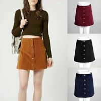 Sexy Womens A-line Casual Dress High Waist Button Front Mini Skirts Party Wear