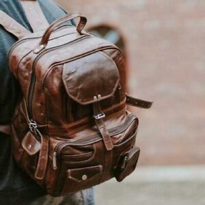 Large Leather Bag Real Backpack Travel Rucksack Handmade Men Vintage New Laptop