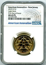 2019 D $1 NEW JERSEY NGC MS65 PL AMERICAN INNOVATION DOLLAR FIRST DAY OF ISSUE