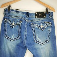 Miss Me Boot Jeans Size 30 Bootcut Rhinestone Button Flap Pockets Womens
