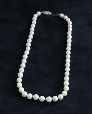 Akoya Cultured Pearl Strand Necklace with 14k White Gold Clasp Vintage 15 1/2""