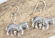 925 sterling silver earrings charm Zebra striped African Safari pewter pair
