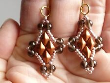 Smokey Quartz & Seed Bead Fancy Gold Plated Earrings
