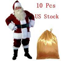 US 10 Pcs Adult Santa Claus Father Christmas Costume Luxury Plush Xmas Full Suit