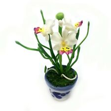 White Vanda Orchids Clay Flower Ceramic Pot Dollhouse Miniature Handmade 3