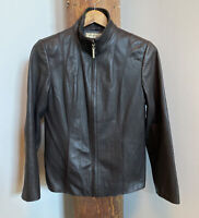Preston & York Womens Brown Genuine Lambskin Leather Jacket Size Small Pre-Owned