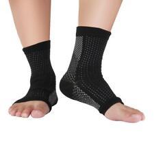 Uomo Calzini Vene Varicose Caviglia Supporto A Compressione Calze Nero L/XL